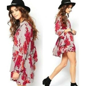 Free People Grey and red floral tunic dress